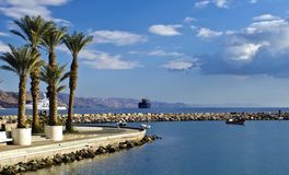 View on marina and northern beach of Eilat, Israel Stock Photo