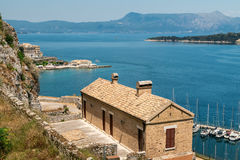 View on marina and old fort, Kerkyra, Corfu Royalty Free Stock Image