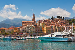 View of marina and old part of Menton, France. stock images