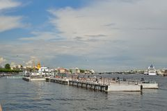 The view of the Marina and the Palace bridge with the Lieutenant Royalty Free Stock Photo