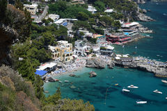 View of Marina Piccola beaches on Capri, Italy. View of Marina Piccola beach, Capri Island, Italy Stock Photo