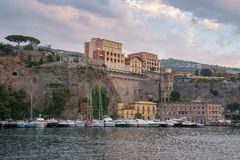 View of Marina Piccola in Sorrento at dusk. Campania, Italy Royalty Free Stock Images