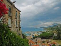 View on marina port in city Tropea south Italy royalty free stock photos