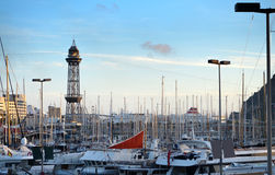 View of Marina Port Vell in Barcelona,Spain Royalty Free Stock Photos