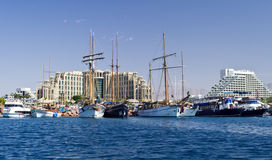 View on marina and resort hotels, Eilat, Israel Royalty Free Stock Image