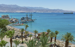 View on marina and sandy beach in Eilat Royalty Free Stock Photo