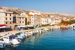 View of the marina in small town Pag, a very popular destination among tourists Stock Image