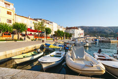 View of the marina in small town Pag, a very popular destination among tourists Royalty Free Stock Images