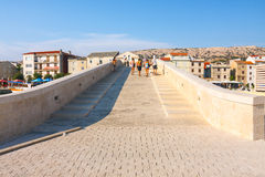 View of the marina in small town Pag, a very popular destination among tourists Stock Photo