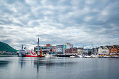 View of a marina in Tromso, North Norway Royalty Free Stock Images