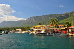 View of the marina in Akyaka, Turkey Royalty Free Stock Photos