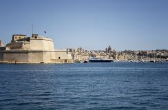 View of marina in Valletta city / Malta. Mediterranean sea and sunny summer day Stock Images