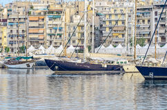 Yachts in the marina. Yachts in the classical style Stock Photography