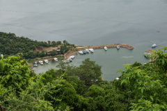 View of Marineland Harbour at Lake Kariba. Photograph overlooking Marineland Harbor at Lake Kariba which was taken from the town of Kariba situated on the hills Stock Images