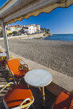 View of maritime french village of Cote Vermeille. Royalty Free Stock Photo