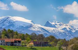 View of Maritimes Alps fron the italian side in the Cuneo province, Piemonte, italy. Europe royalty free stock photos