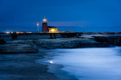 View of Mark Abbott Memorial Lighthouse at night  Royalty Free Stock Image