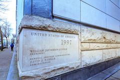 View of Mark O. Hatfield United States Courthouse in downtown Po. Portland, United States - Dec 19, 2017 : View of Mark O. Hatfield United States Courthouse in royalty free stock image
