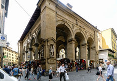 View of the market called `Porcelino` in the street `Logia del Mercato nuovo` with people walking and shopping Royalty Free Stock Photography