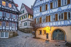 Herrenberg at Dusk, Germany. View of the Market Square of Herrenberg at dusk Royalty Free Stock Photo