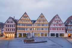 Herrenberg at Dusk, Germany. View of the Market Square of Herrenberg at dusk Stock Photography
