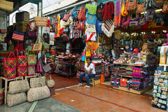 View of a market stall with incan handicraft and peruvian souvenirs Royalty Free Stock Photos