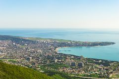 The view from the Markotkh mountain range in the Central and Eastern part of the city of Gelendzhik, a Thick Cape of Gelendzhik Ba Royalty Free Stock Photography