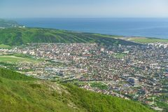 View from The markotkh ridge on the dense construction of the Central and Eastern parts of the city of Gelendzhik Stock Images