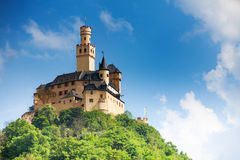 View Marksburg Castle On Top Of The Mountain Stock Photo