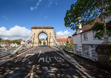 View of Marlow bridge from the Berkshire bank of the river. stock photos