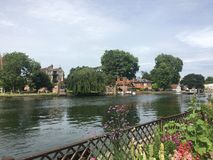 Marlow view along the River Thames, Buckinghamshire stock image