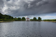 View on the Marly palace. Cloudy, rainy weather in Peterhof. Stock Image