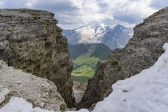 View of the Marmalade massif from the summit of the Sass Pordoi. Dolomites Royalty Free Stock Images