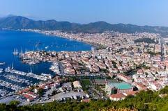View of Marmaris harbor on Turkish Riviera Stock Images