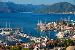 View of Marmaris harbor on Turkish Riviera Stock Photography