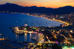 View of Marmaris harbor on Turkish Riviera by night Royalty Free Stock Photography