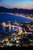 View of Marmaris harbor on Turkish Riviera by night Stock Photo