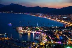 View of Marmaris harbor on Turkish Riviera by night Royalty Free Stock Image