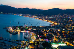 View of Marmaris harbor on Turkish Riviera by night.  Royalty Free Stock Photos