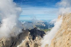 View from Marmolada mountain, Alps, Italy Stock Images