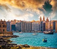 View on Marsamxett Harbour and Valletta. Picturesque view on Marsamxett Harbour and Valletta Royalty Free Stock Photography