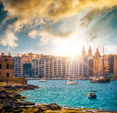 View on Marsamxett Harbour and Valletta Royalty Free Stock Photo