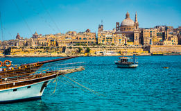 View of Marsamxett Harbour and Valletta Royalty Free Stock Photos