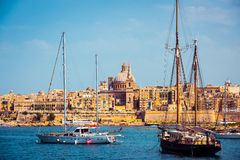 View of Marsamxett Harbour and Valletta. Scenic View of Marsamxett Harbour and Valletta in Malta Stock Images