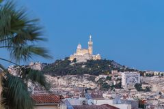 View of Marseille and basilica Notre-Dame de la Garde. royalty free stock photos