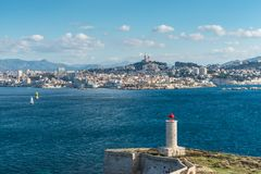 View on Marseille from Chateau d If, France. View on the Chateau d`If Lighthouse on Castle IF fortress-island with Marseille in the background, Provence, France royalty free stock image