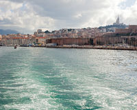 View of Marseille and the hills from the sea Stock Photography