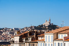 View of Marseille with Notre-Dame de la Garde basilica Royalty Free Stock Photography