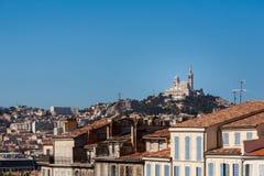 View of Marseille with Notre-Dame de la Garde basilica Royalty Free Stock Photos