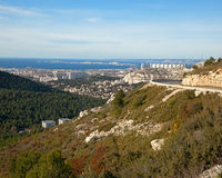View of Marseille, road and sea on a background of blue sky Royalty Free Stock Photos